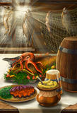 Still life on sea theme with food royalty free illustration
