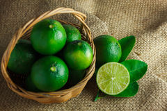 Still life selective focus to slice  fresh lime and leaf lime on Royalty Free Stock Photos