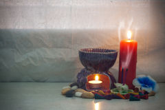 Still life set of  aroma joss stick in incense burner with incen Royalty Free Stock Image
