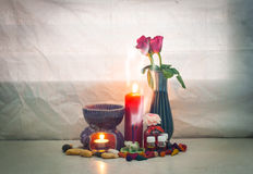 Still life set of  aroma joss stick in incense burner with incen Stock Photo