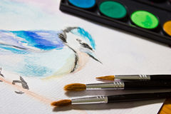 Still life with a set of watercolor painting. Royalty Free Stock Photo