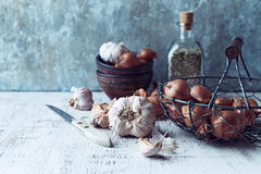 Still Life with Shallots and Garlic Royalty Free Stock Images