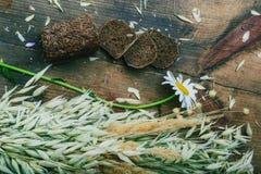 Still life- sheaf of oats, chamomile Stock Photo