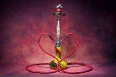 Still life shisha equipment heart shape hose Royalty Free Stock Photos