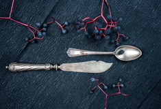 Still life. silver knife, a  spoon, and bunches of wild grapes. close-up. top view Royalty Free Stock Image