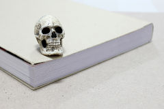 Still Life with a Skull and book on wooden table Royalty Free Stock Photo