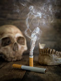 Still life skull and cigarette burned with smoke Royalty Free Stock Photo