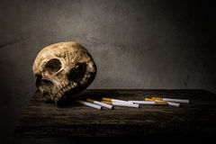 Still life skull and cigarette people smoke cigarette and get to Stock Photos