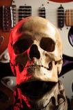 Still life with skull and electric guitar Stock Photos