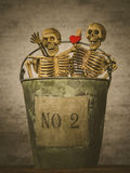 Still life of skull. Still life with human skull in bucket on abstract background ,Love concept stock images
