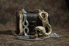 Still Life skull and small box with treasures Royalty Free Stock Photography