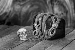 Still Life skull and small box with treasures Low Key Royalty Free Stock Photos