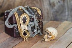 Still Life skull and small box with treasures Royalty Free Stock Photo