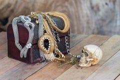 Still Life skull and small box with treasures Royalty Free Stock Photos