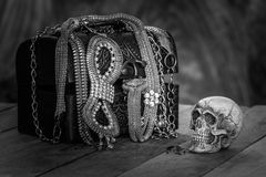 Still Life skull and small box with treasures on wooden Royalty Free Stock Photo