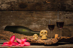 Still life skull with wine bottle Royalty Free Stock Image