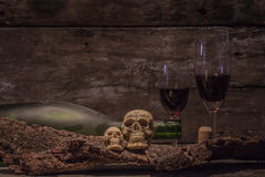 Still life skull with wine bottle Stock Image