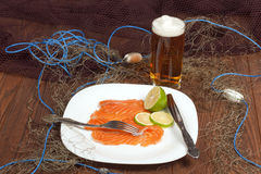 Still Life with sliced ​​pickled salmon Royalty Free Stock Photography