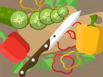 Still life with sliced vegetables on a table with a knife, cutting board and parsley. Illustration royalty free illustration