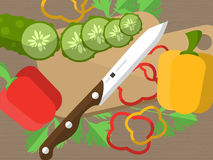 Still life with sliced vegetables on a table with a knife, cutting board and parsley. Vector Stock Photos