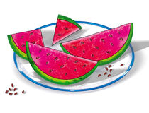 Watermelon on a plate. Still life, sliced watermelon on a plate. Digital drawing. For Design crafts, fabrics, decorating, printable production, albums, cover Stock Images