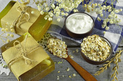 Still life with soap, cream and oats Royalty Free Stock Image