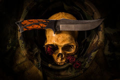 Still life soldier skull Royalty Free Stock Photography