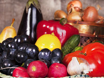 Still life with some fruits and vegetables. Some fruits and vegetables in the old basement Royalty Free Stock Photos