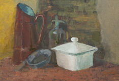 Still life with soup bowl, frying pan, bottle, jug Stock Image
