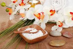 Still life spa bath salt with towels Royalty Free Stock Photography