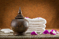 Still life spa setting and orchid flower Royalty Free Stock Photo