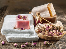 Still life with spa towels and natural soap Royalty Free Stock Images