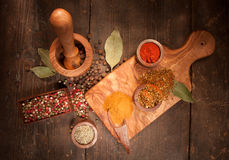 Still life with species and herbs Stock Photography