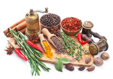 Still life with spices and herbs isolated on white Stock Photos