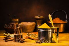Still life.Spices, perfumes and colors stock images