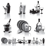 Still-life of spirits and glasses. Black-and-white still-life of spirits and glasses with reflection Royalty Free Stock Images