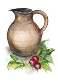 Spring radish and a big jug Stock Photo