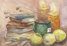 Still life with a stack of old books, two burning candles, a big mug of tea and apples. Hand drawn watercolor illustration