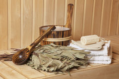 Still life of a steam bath-room accessories Royalty Free Stock Photography