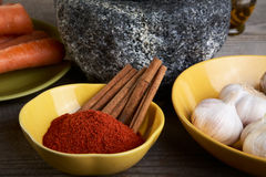 Still-life with a stone mortar and spices Royalty Free Stock Image