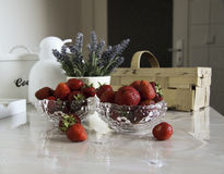 Still life with strawberries and flowers Stock Image