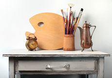 Still-life in studio of the artist Royalty Free Stock Photography