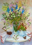 Still life summer field wild flowers and forest fragrant strawberries. Original oil painting. stock illustration