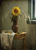 Still life with a sunflower and ears Stock Image