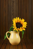 Still life with sunflower in vase on wooden background. Royalty Free Stock Image