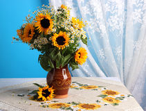 Still life with sunflowers Stock Images