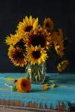 Still life of sunflowers. Apples Stock Photo