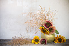 Still life with sunflowers. On background old wall Stock Photos