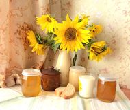 Still life with sunflowers. Bouquet of sunflowers still life bread milk in a glass of golden color honey lit by the sun Stock Photos