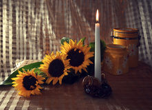 Still life with sunflowers and a candle. Still-life with three sunflowers, a burning candle and pottery Stock Images